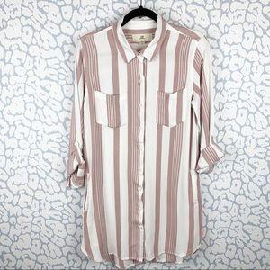 Thread & Supply Button  Striped Tunic Shirt Dress